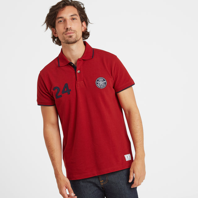 Hebble Mens Pique Polo Shirt - Chilli Red image 1