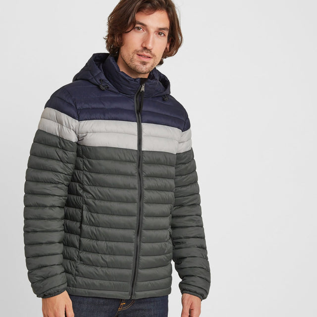 Helme Mens Padded Jacket - Pine Green Striped image 1