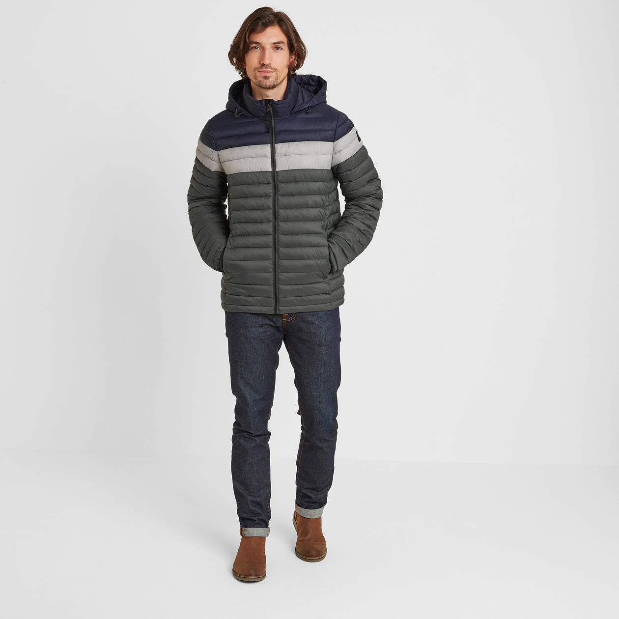 Helme Mens Padded Jacket - Pine Green Striped image 4
