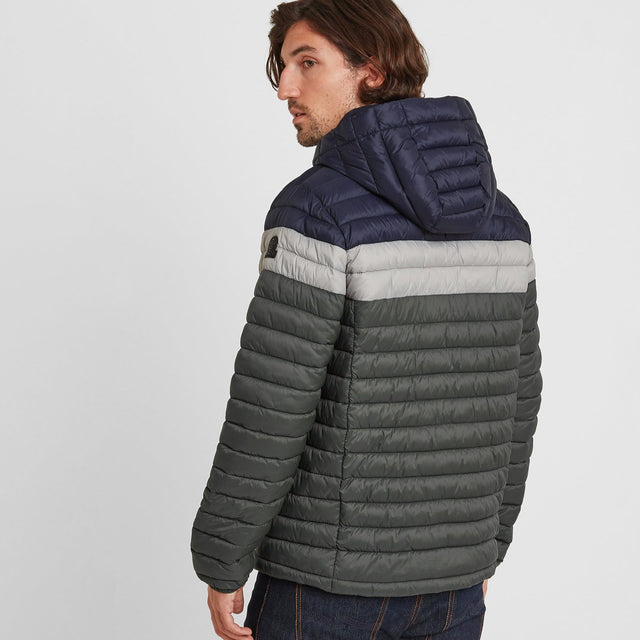 Helme Mens Padded Jacket - Pine Green Striped image 2