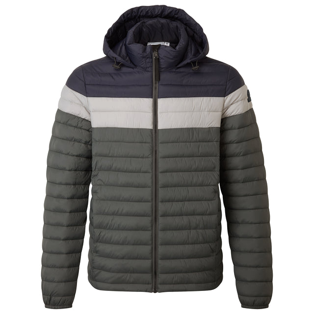 Helme Mens Padded Jacket - Pine Green Striped image 3