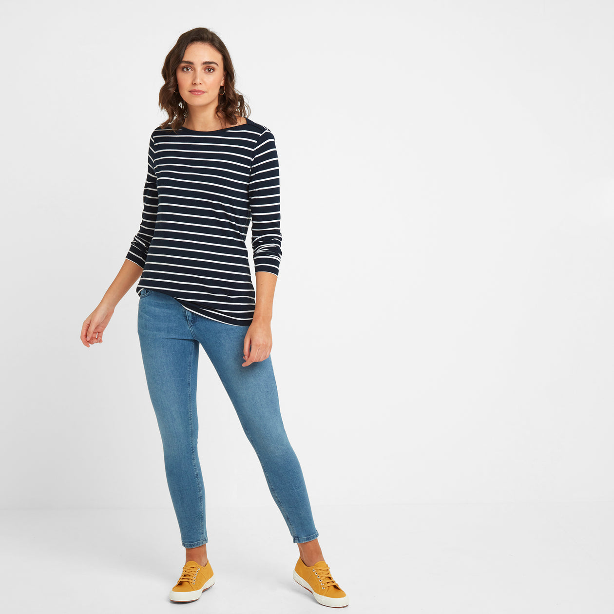 Hessle Womens Long Sleeve Stripe T-Shirt - Dark Indigo image 4