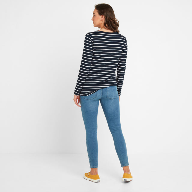 Hessle Womens Long Sleeve Stripe T-Shirt - Dark Indigo image 2