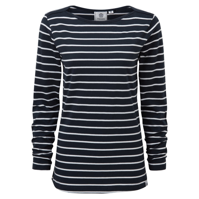 Hessle Womens Long Sleeve Stripe T-Shirt - Dark Indigo image 3