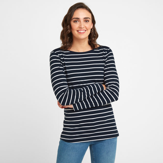 Hessle Womens Long Sleeve Stripe T-Shirt - Dark Indigo image 1