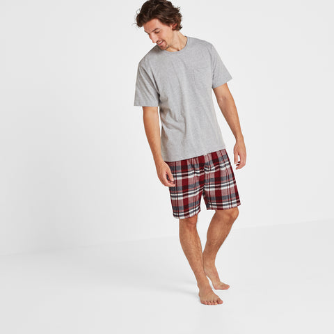 Hibernate Mens Short Set - Grey Marl/Navy Check