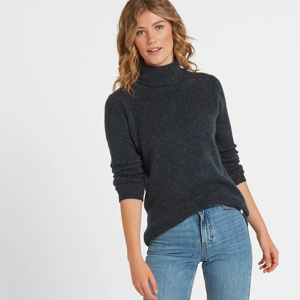 Hilary Womens Chunky Roll Neck Jumper - Navy Marl image 4