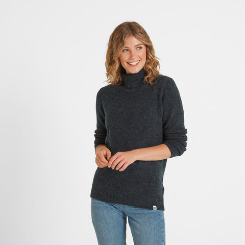 Hilary Womens Chunky Roll Neck Jumper - Navy Marl