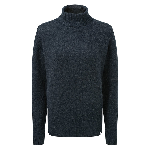 Hilary Womens Chunky Roll Neck Jumper - Navy Marl image 3