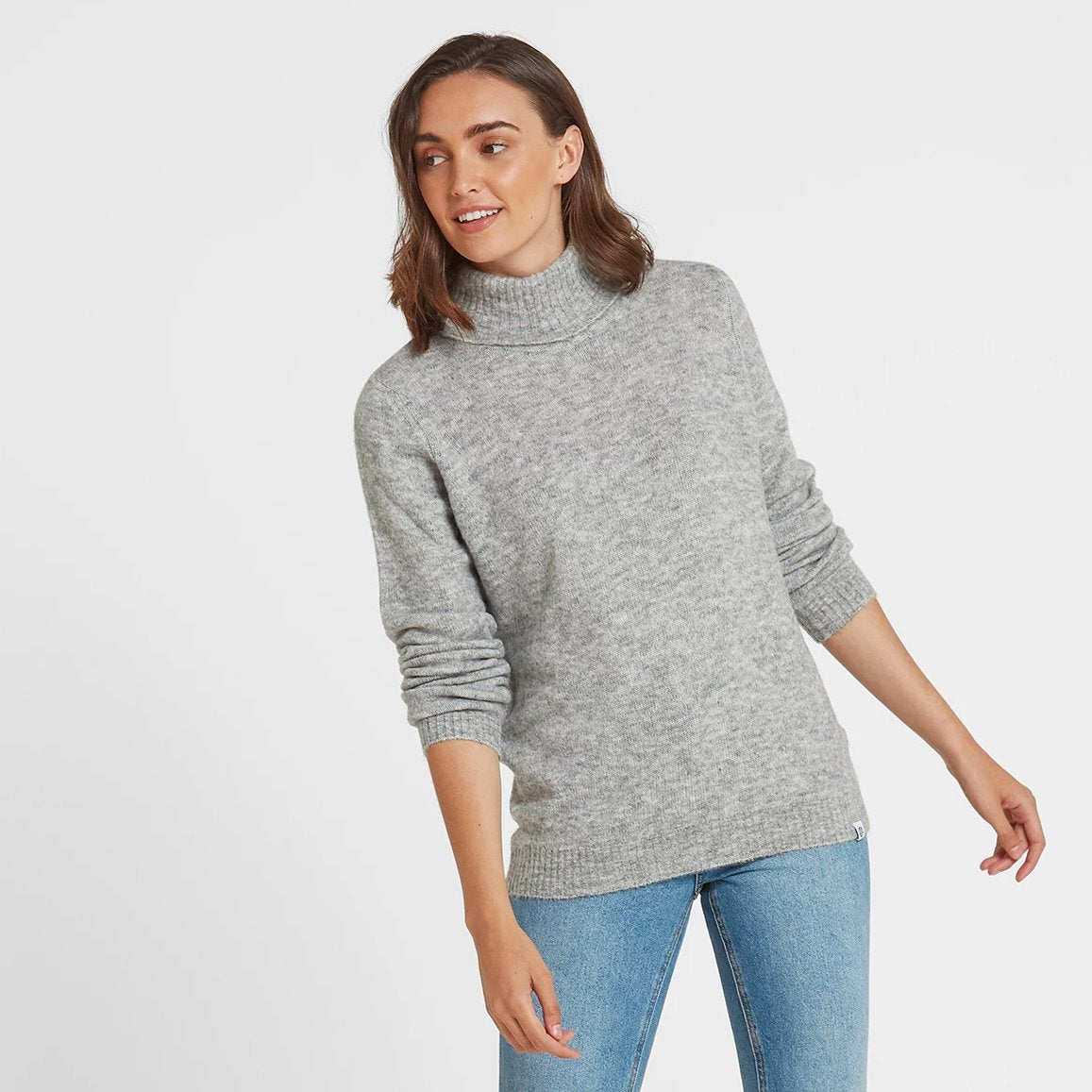 Hilary Womens Chunky Roll Neck Jumper - Light Grey Marl image 4