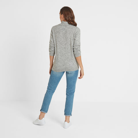 Hilary Womens Chunky Roll Neck Jumper - Light Grey Marl