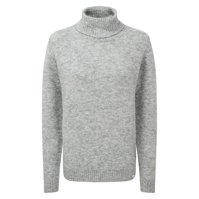 Hilary Womens Chunky Roll Neck Jumper - Light Grey Marl image 3