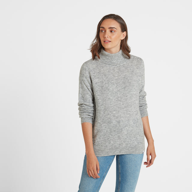 Hilary Womens Chunky Roll Neck Jumper - Light Grey Marl image 1