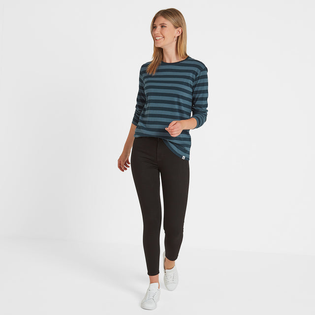 Holmfield Womens Long Sleeve Stripe T-Shirt - Navy image 2