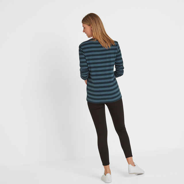 Holmfield Womens Long Sleeve Stripe T-Shirt - Navy image 3