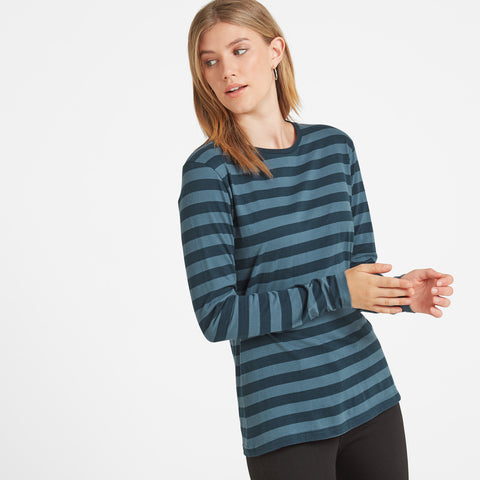 Holmfield Womens Long Sleeve Stripe T-Shirt - Navy