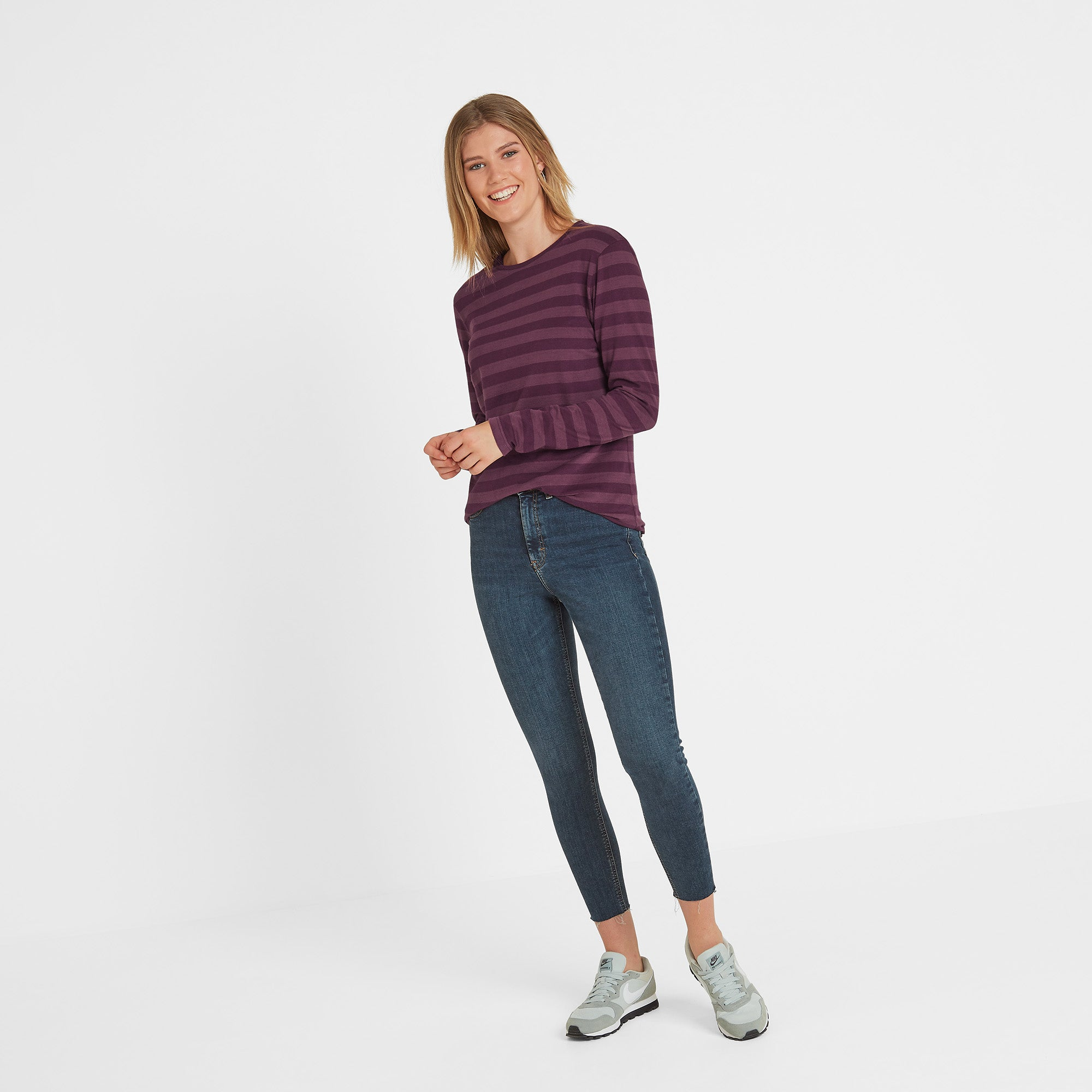 Holmfield Womens Long Sleeve Stripe T-Shirt - Aubergine