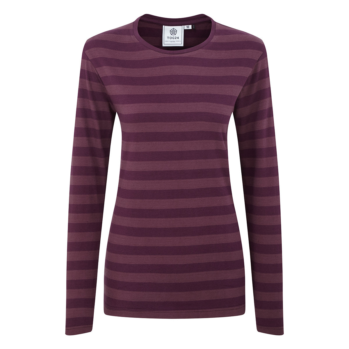 Holmfield Womens Long Sleeve Stripe T-Shirt - Aubergine image 4