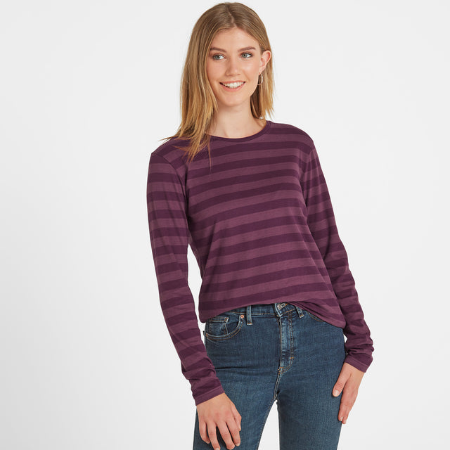 Holmfield Womens Long Sleeve Stripe T-Shirt - Aubergine image 1