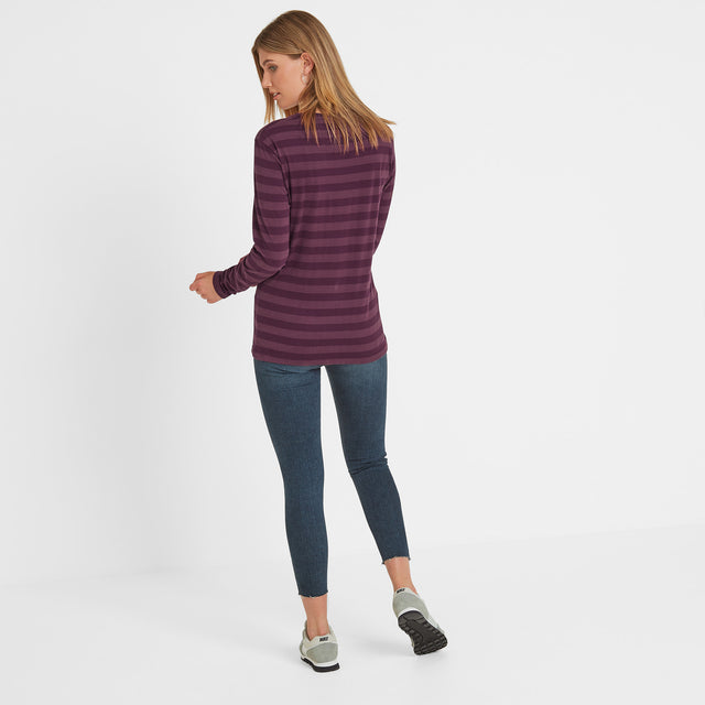 Holmfield Womens Long Sleeve Stripe T-Shirt - Aubergine image 3