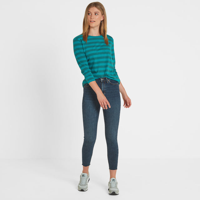 Holmfield Womens Long Sleeve Stripe T-Shirt - Topaz image 2
