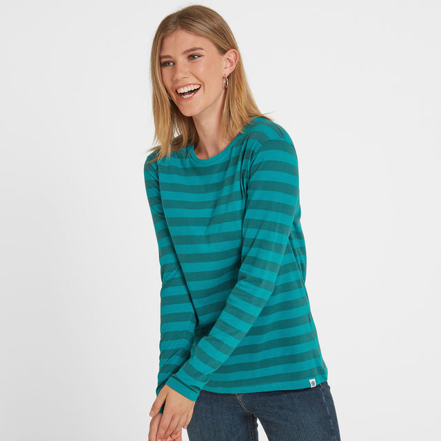 Holmfield Womens Long Sleeve Stripe T-Shirt - Topaz image 1