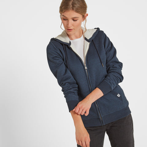 Hove Womens Sherpa Lined Hoody - Denim Marl