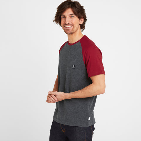 Hustwick Mens Raglan T-Shirt - Rio Red/Dark Grey Marl