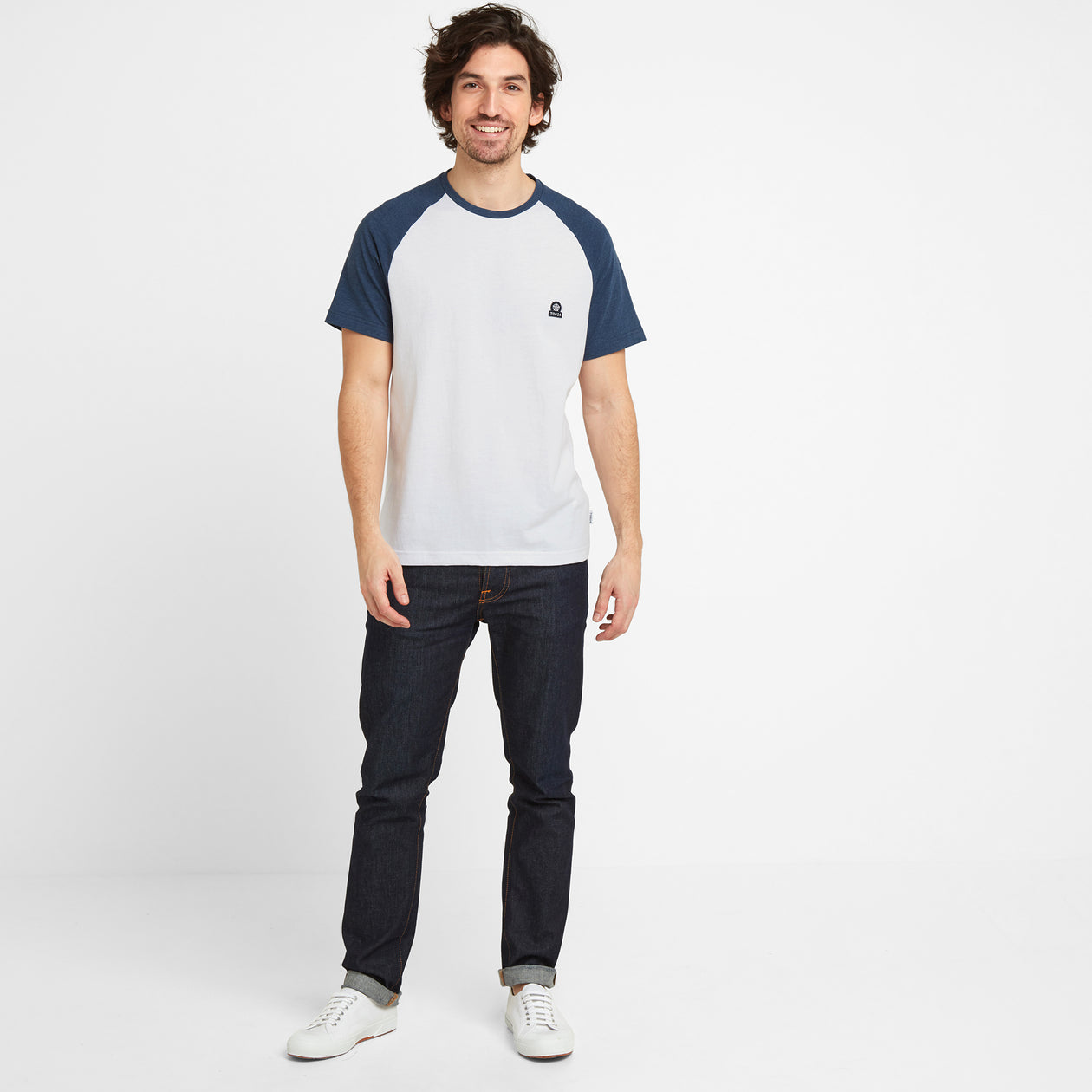 Hustwick Mens Raglan T-Shirt - Denim/Optic White image 4