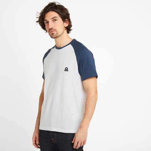 Hustwick Mens Raglan T-Shirt - Denim/Optic White