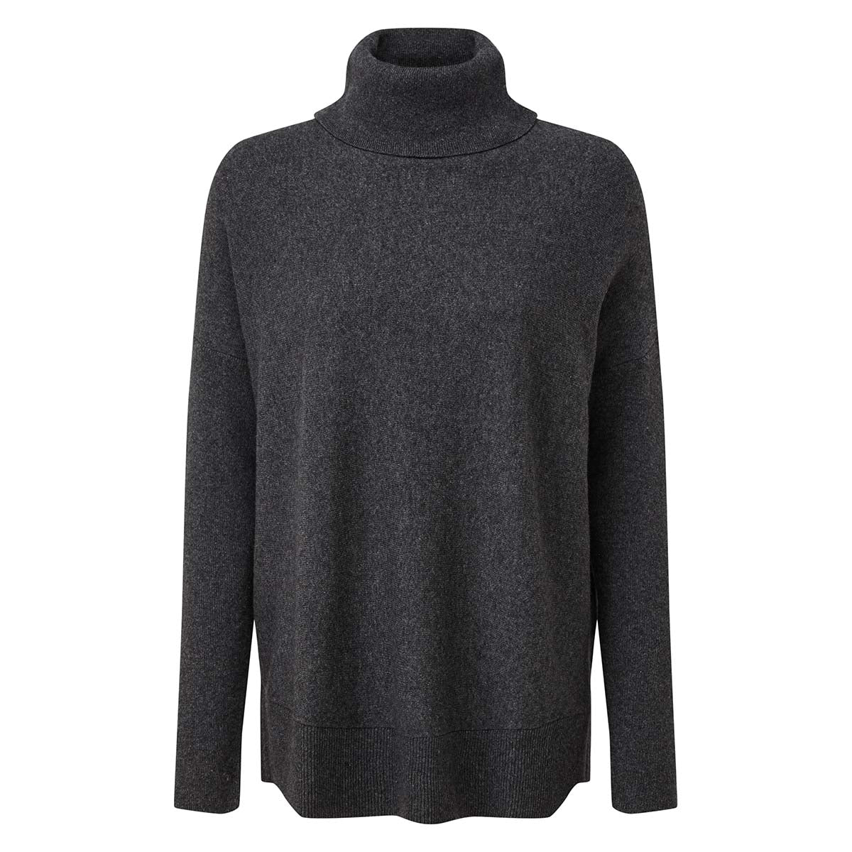 Imogen Womens Light Roll Neck Jumper - Dark Grey Marl image 4