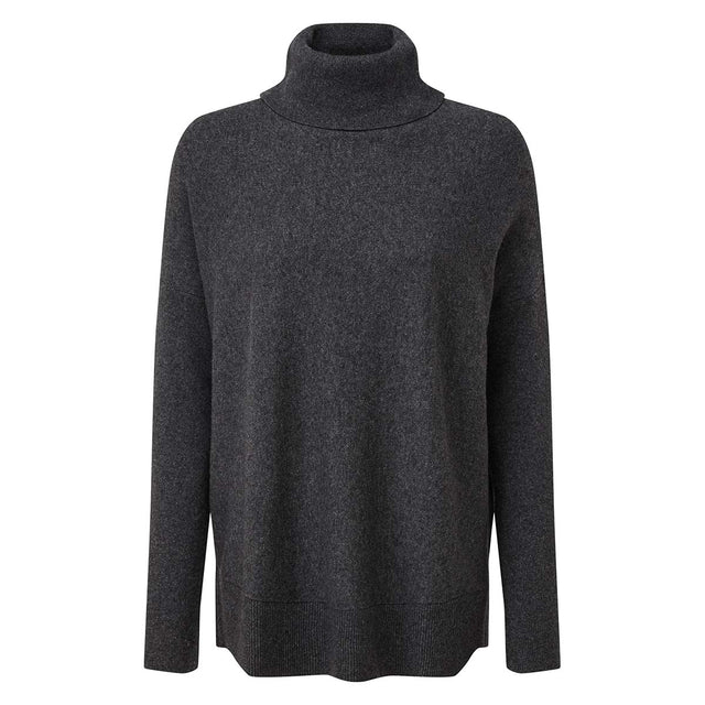 Imogen Womens Light Roll Neck Jumper - Dark Grey Marl image 3