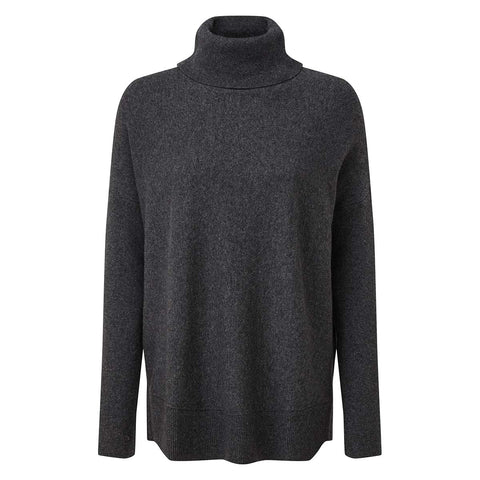 Imogen Womens Light Roll Neck - Dark Grey Marl