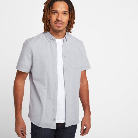 Kahlo Mens Plain Linen Shirt - Pearl Blue