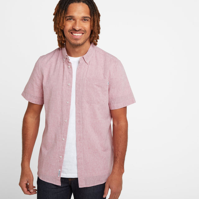 Kahlo Mens Plain Linen Shirt - Washed Red image 1