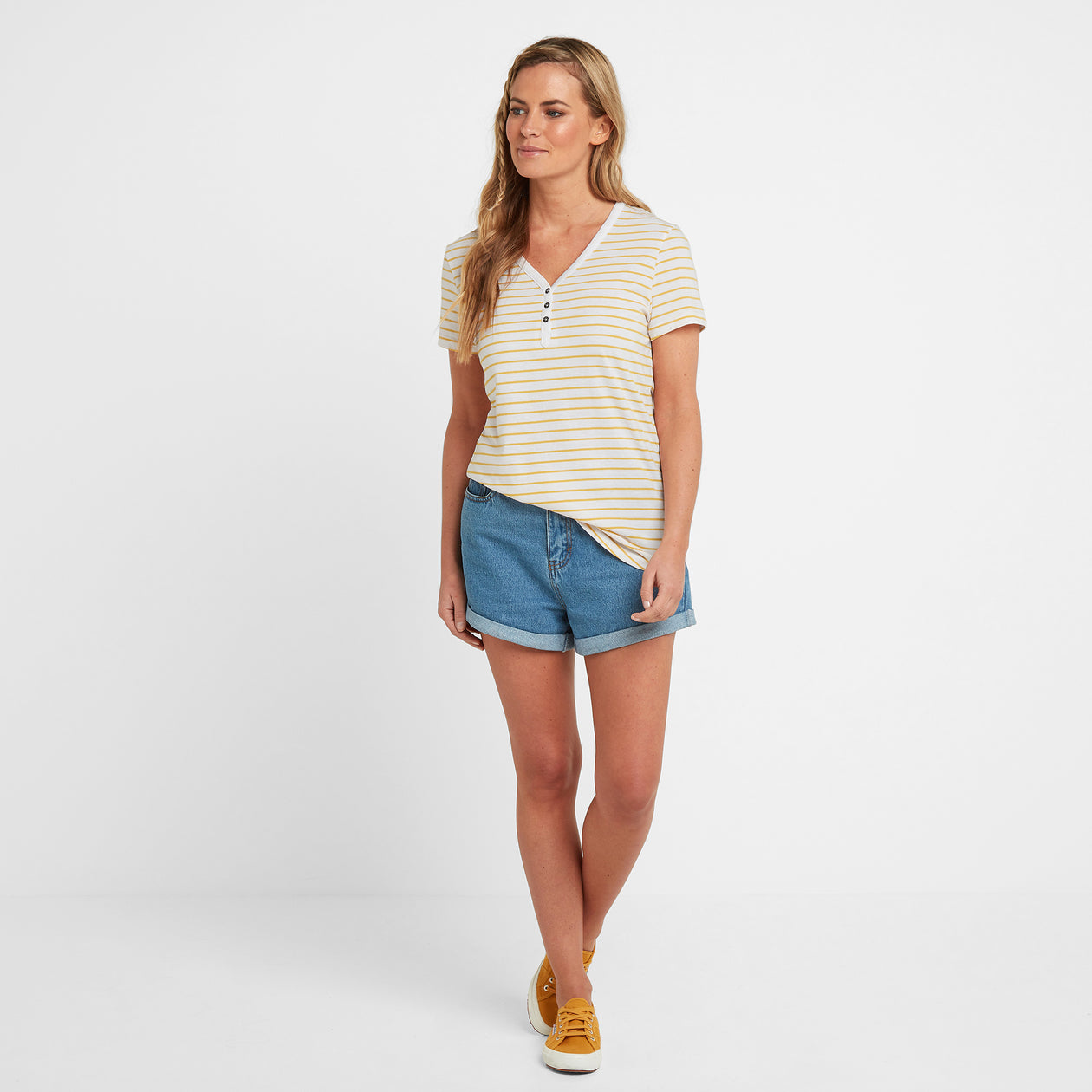 Kaye Womens Stripe Y-Neck T-Shirt - Sun Yellow image 4