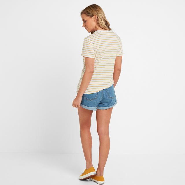 Kaye Womens Stripe Y-Neck T-Shirt - Sun Yellow image 2