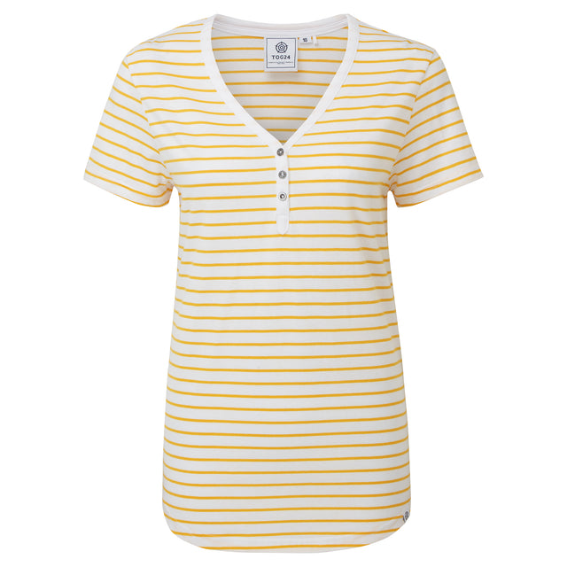 Kaye Womens Stripe Y-Neck T-Shirt - Sun Yellow image 3