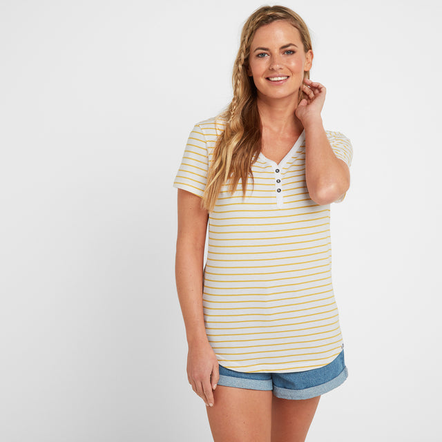 Kaye Womens Stripe Y-Neck T-Shirt - Sun Yellow image 1