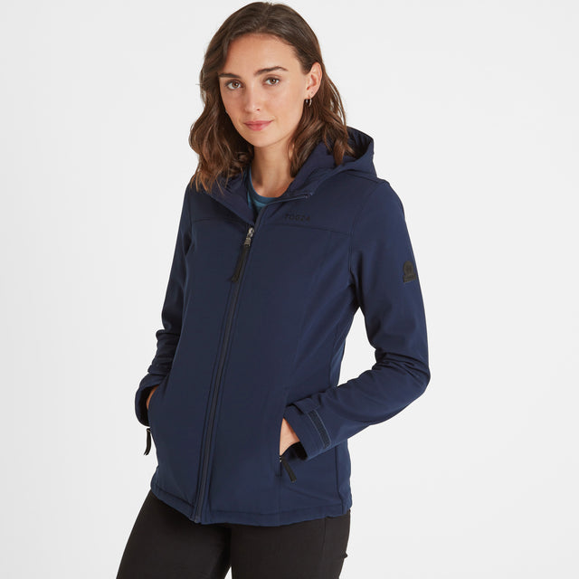 Keld Womens Softshell Hooded Jacket - Navy image 1