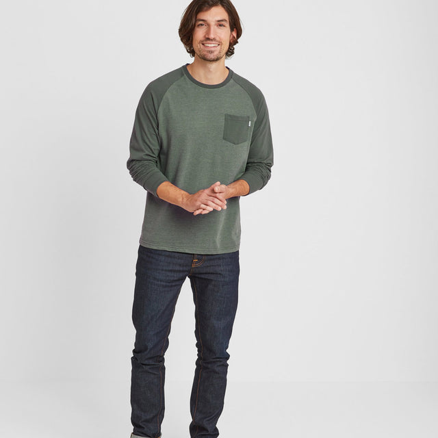 Kennett Mens Long Sleeve Raglan T-Shirt - Pine Green Marl/Pine Green image 1