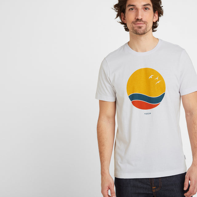 Kilcourse Mens Sun Graphic T-Shirt - Optic White image 1