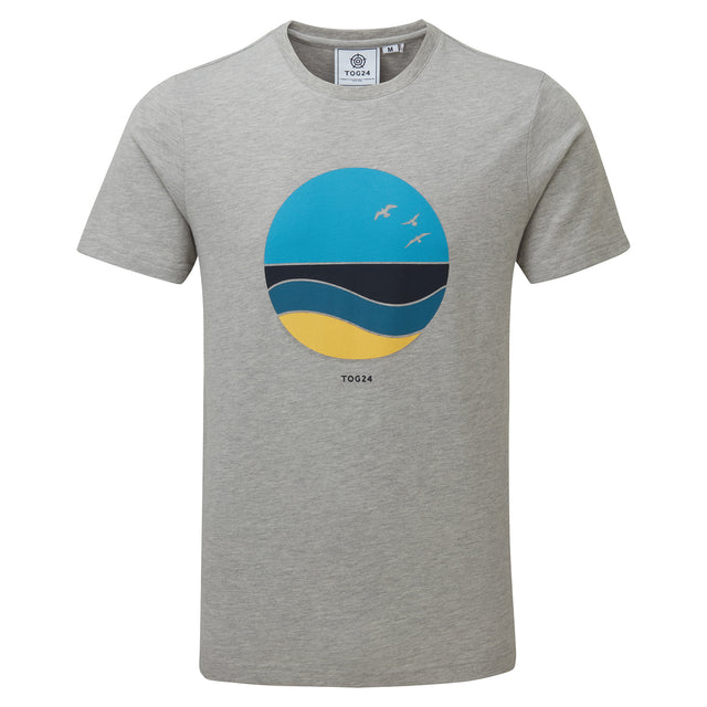 Kilcourse Mens Sun Graphic T-Shirt - Light Grey Marl image 3