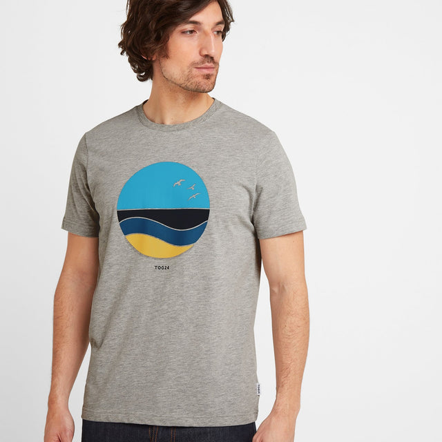 Kilcourse Mens Sun Graphic T-Shirt - Light Grey Marl image 1