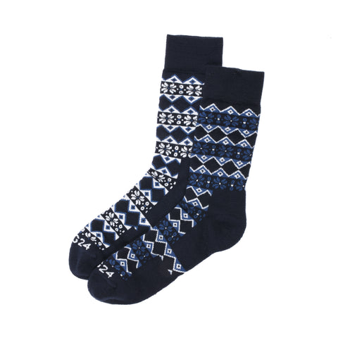 Kilpin Trek Socks - Navy Fairisle