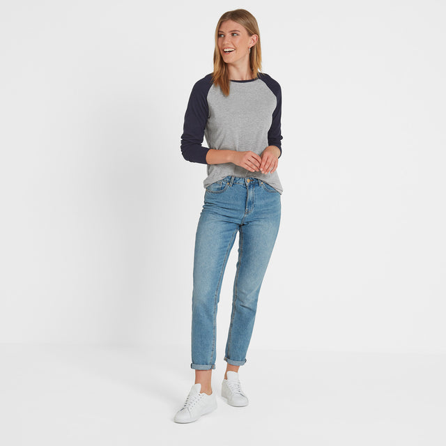 Kilwick Womens Long Sleeve Raglan T-Shirt - Grey/Navy image 2