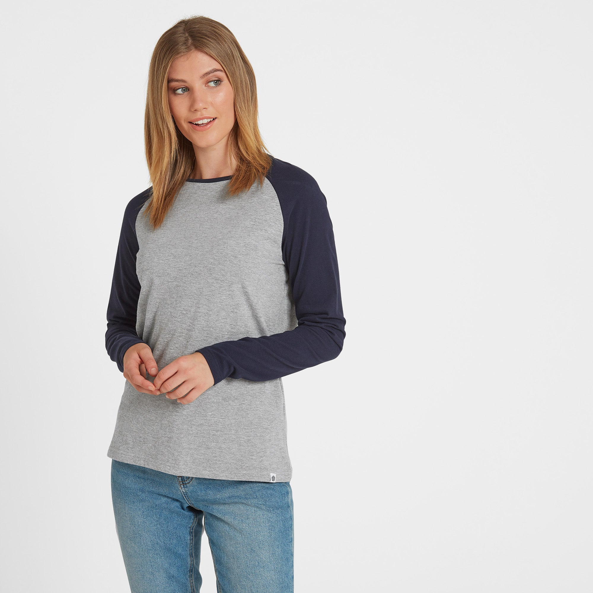Kilwick Womens Long Sleeve Raglan T-Shirt - Grey/Navy