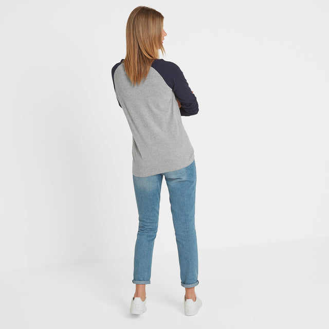 Kilwick Womens Long Sleeve Raglan T-Shirt - Grey/Navy image 3