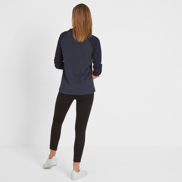 Kilwick Womens Long Sleeve Raglan T-Shirt - Navy/Blue image 3