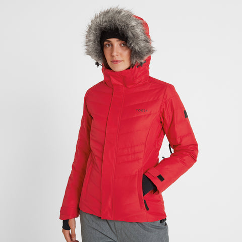 Kirby Womens Down Filled Ski Jacket - Rouge Red